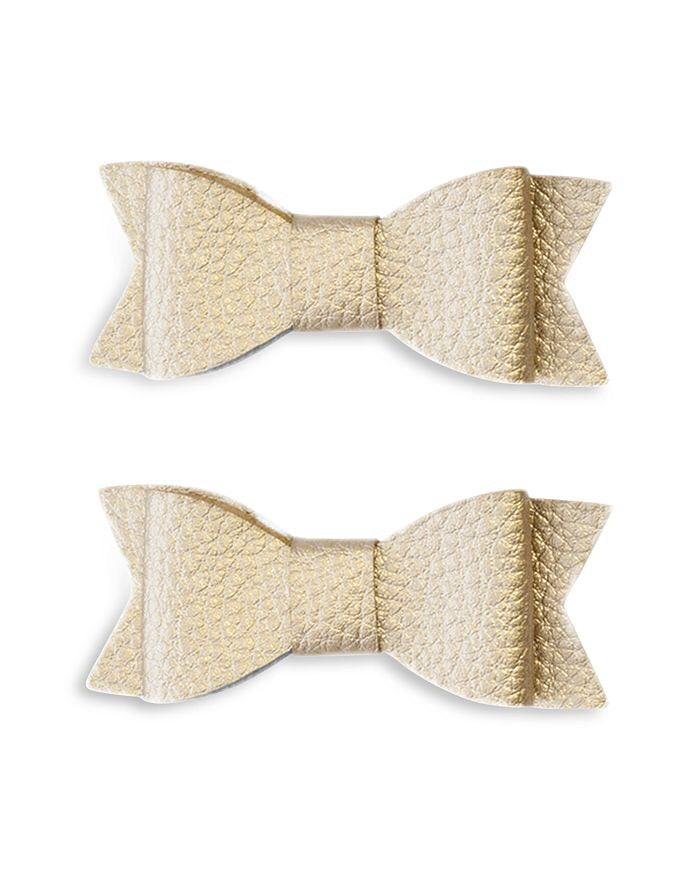 Baby Bling 2 Pack Gold Leather Clip in Bows