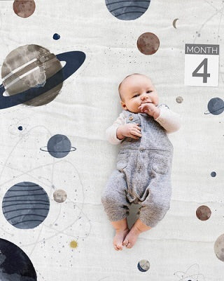 Little Unicorn Space Photo Blanket & Milestone Set