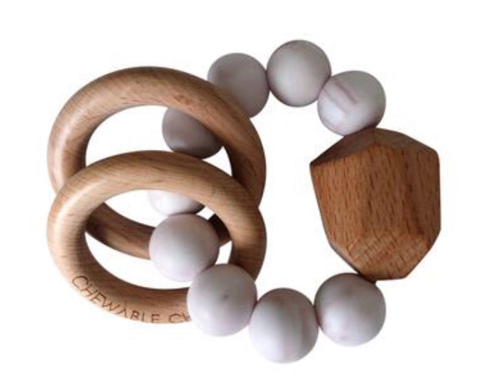 Chewable Charm SILICONE + WOOD TEETHER RING-Stone