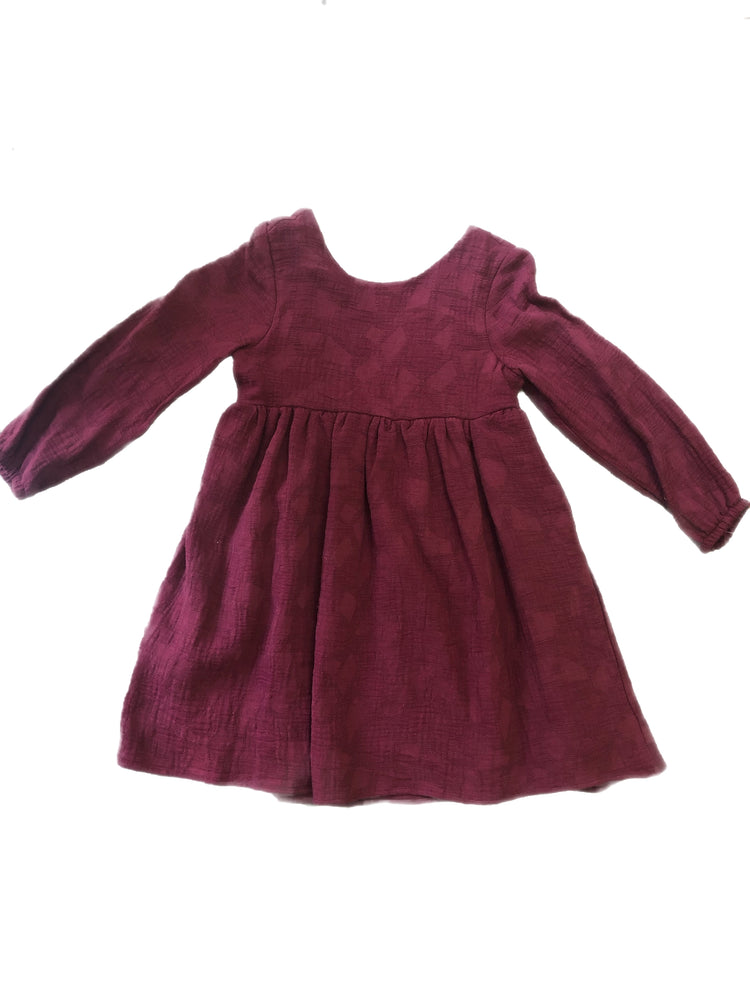 Mabel and Honey Maroon Dress With Floral Bow on back