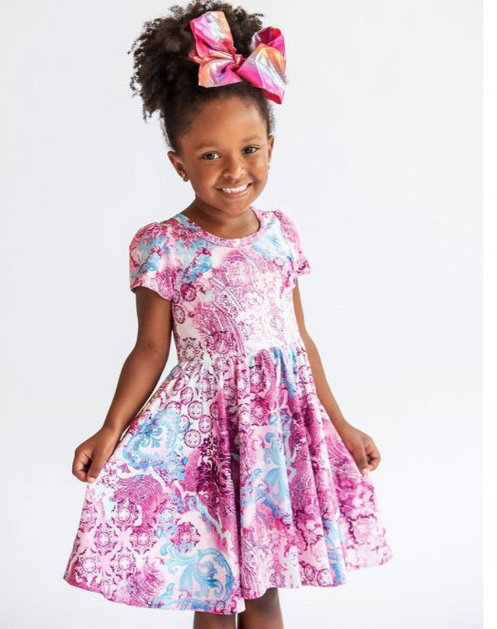 Charlie's Project Raspberry Damask Hugs Collection Dress