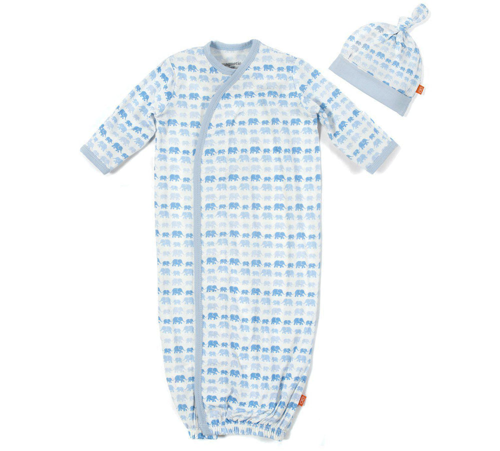 Magnetic Me Blue Dancing Elephants Newborn Gown