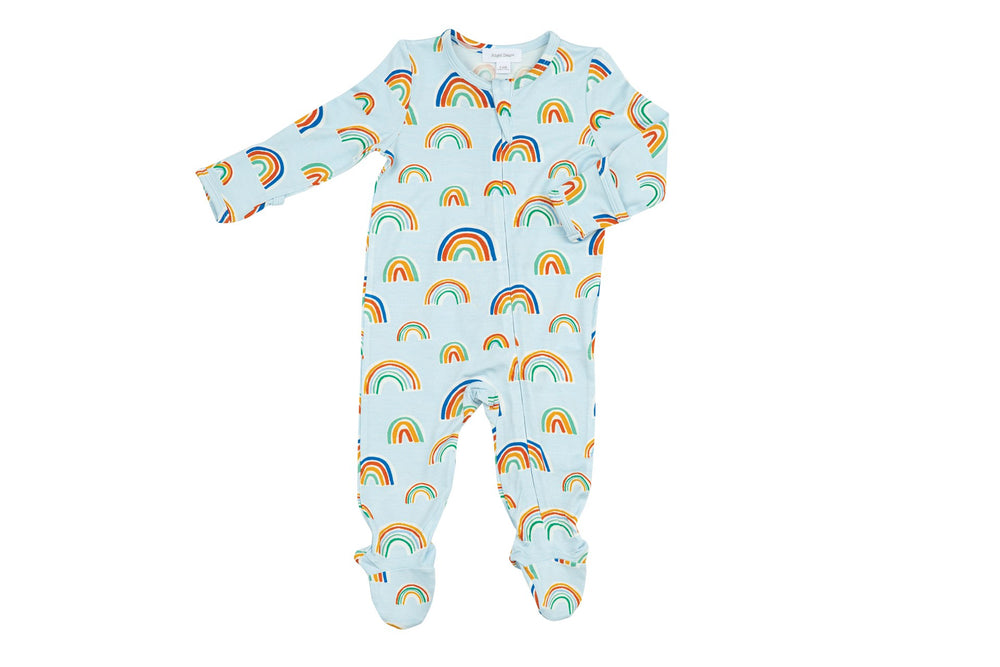 Angel Dear Light Blue with Rainbow Zipper Footie