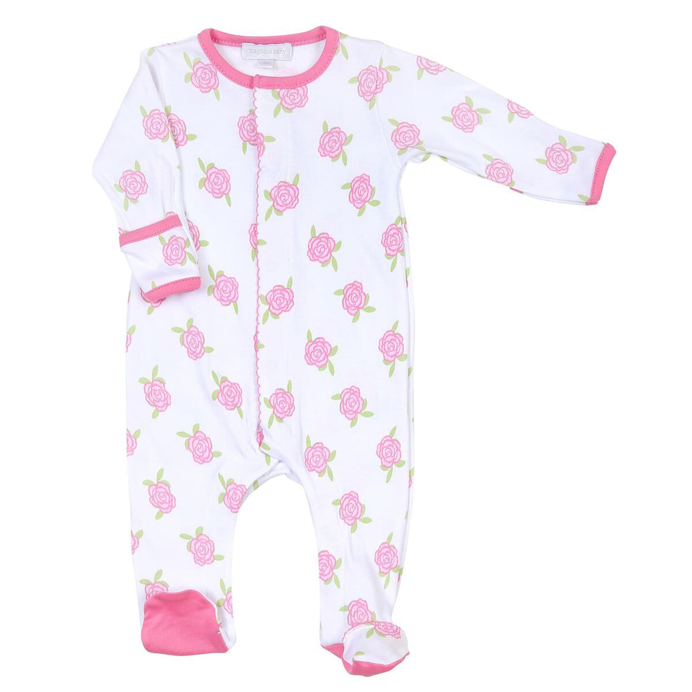 Magnolia Baby Footie White with Pink Ruffle