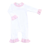 Magnolia Baby Playsuit White with Pink Ruffle