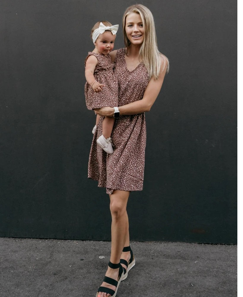 Bailey's Blossom Sheerah Mommy & Me V-Neck Dress - Autumn Acorn