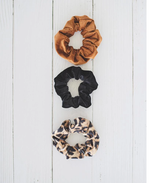 Bailey's Blossom Stephanie Scrunchie Set - Camel, Leopard and Velvet