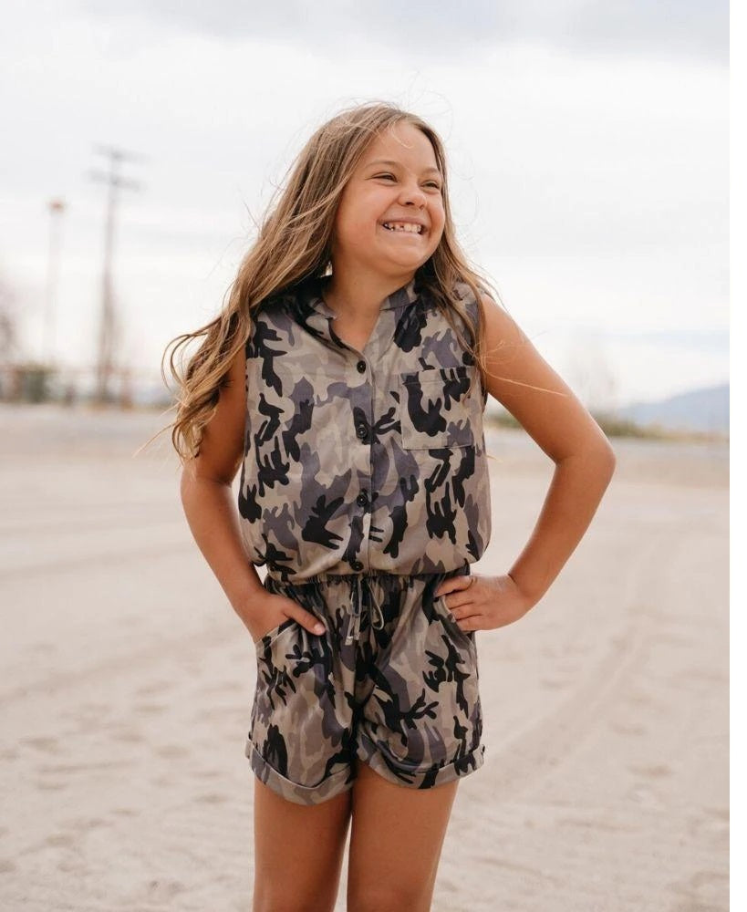 Bailey's Blossom Tori Short Sleeve Shorty Romper - Camo