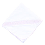 Magnolia Baby Receiving Blanket White with Pink Smocking