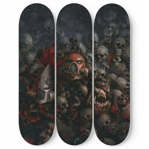 Skulls and Robots - 3 Deck Skateboard Wall Art - fastandtune