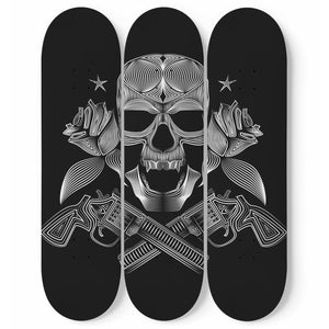 Guns and Skull - 3 Deck Skateboard Wall Art - fastandtune