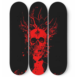 Red Skull - 3 Deck Skateboard Wall Art - fastandtune