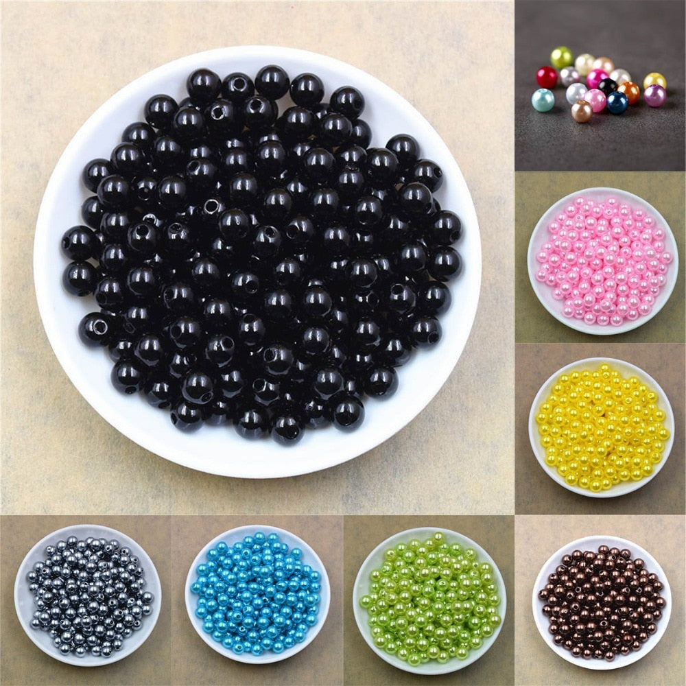100pcs 4/6/8/10/12mm Imitation Pearl Beads, Round Plastic Acrylic Beads for Jewellery Making