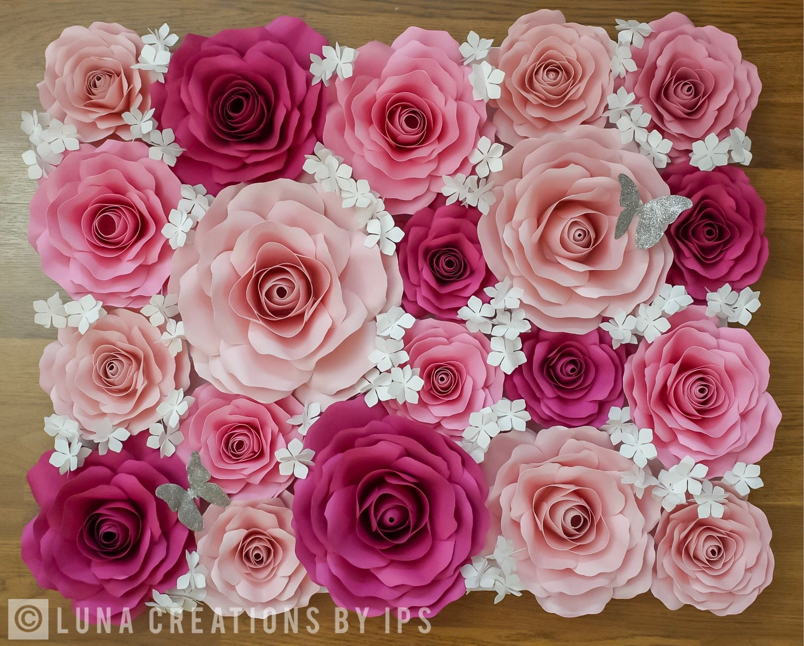 Paper Roses Flower Panelwall Luna Creations By Ips