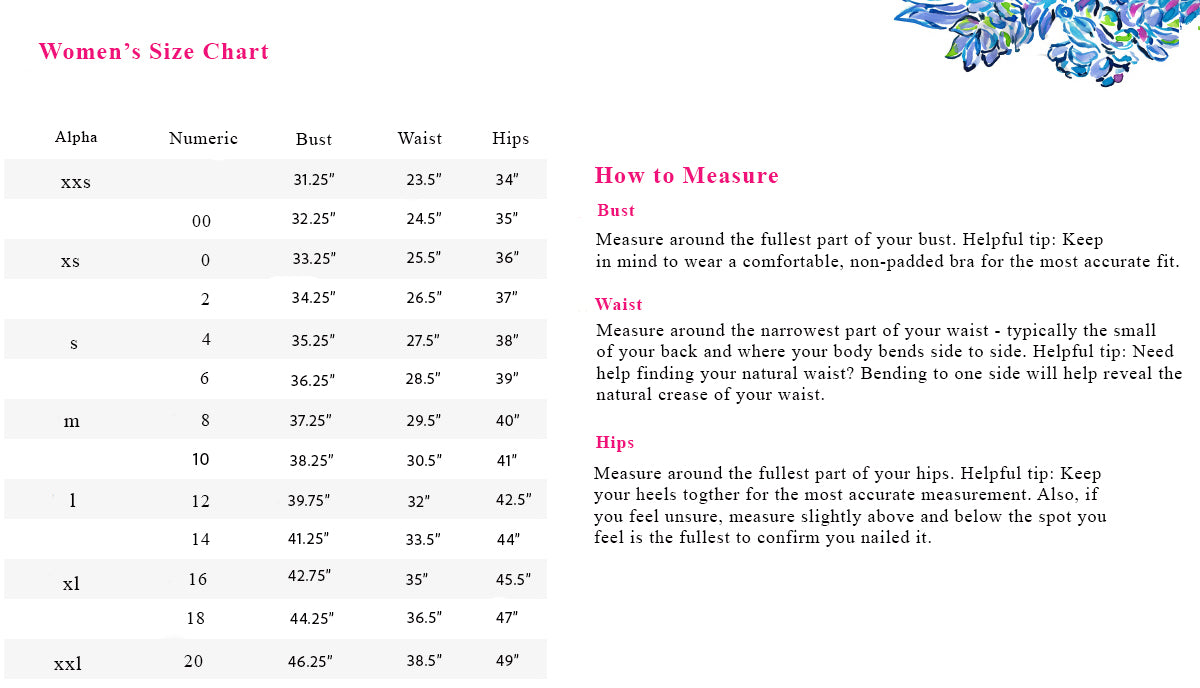 Lilly Pulitzer Size Chart - Womens