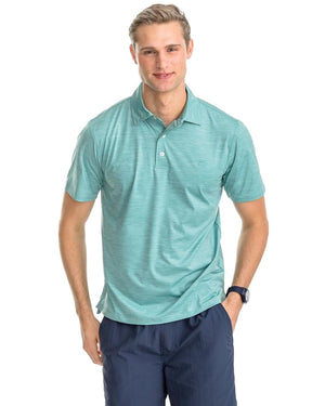 mens short sleeve coki beach performance polo by southern tide in aqua ocean