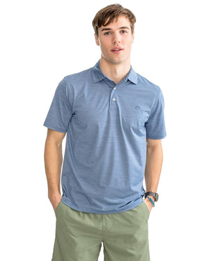 mens short sleeve coki beach performance polo by southern tide in pompeii blue