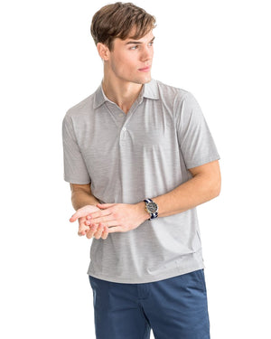 mens short sleeve coki beach performance polo by southern tide in seagull grey