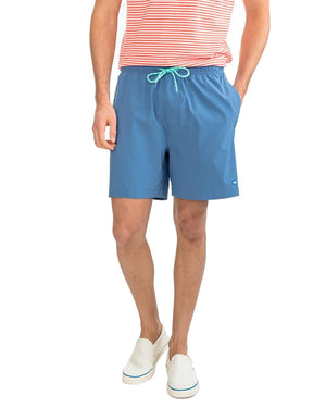 mens solid swim trunk by southern tide in pompeii blue