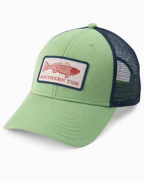 Mens Red Fish Patch Trucker