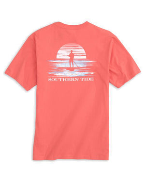 mens short sleeve sunset paddling tee by southern tide in rosewood red