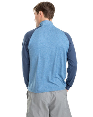 mens windjammer performance quarter zip by southern tide in pompeii blue