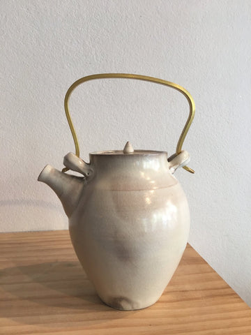 Japanese Ceramic Teapot with Brass Handle