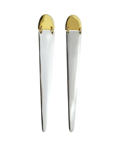 "Pigna ""Dagger"" Silver and Gold Drop Earrings"