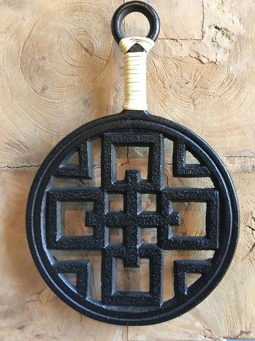 Cast Iron Trivet - Straw Handle