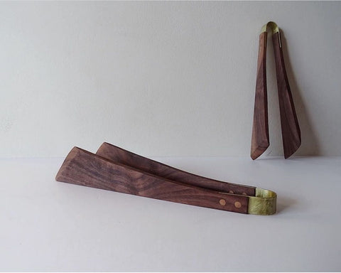 Opus Lab Walnut & Brass Salad Tongs