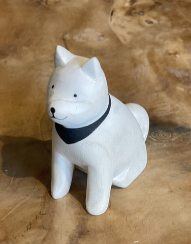 Japanese Carved Wooden Shiba Dog