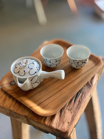Japanese Blue Flowered 3 Piece Tea Set