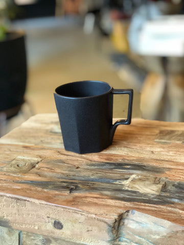 Kinto Black Hexagonal Ceramic Cup