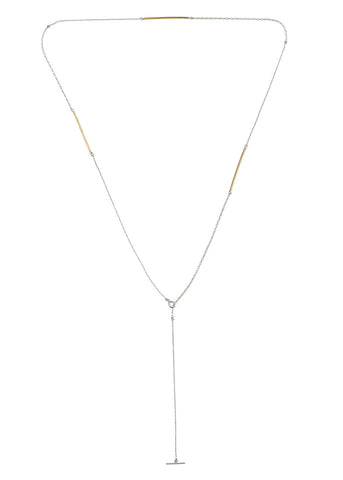 Golden Tube Lariat Necklace