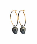 Pyrite Skull Earrings with Gold Hoops (pair)