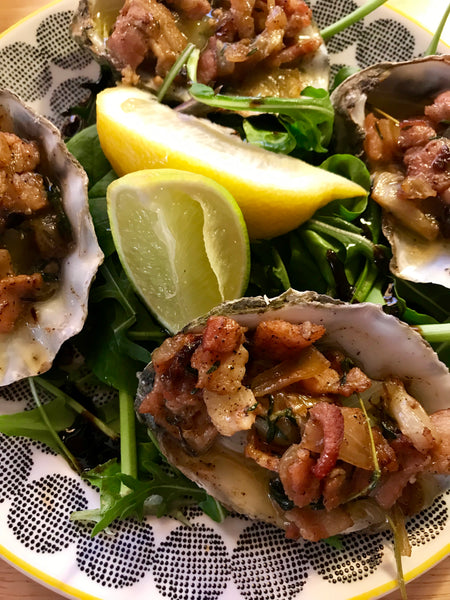 Grilled Oysters with Bacon Butter.