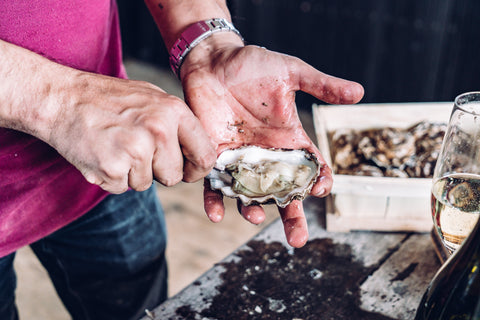 Tom Haward. Shucking oysters. Mail order oysters. Mersea Oysters.