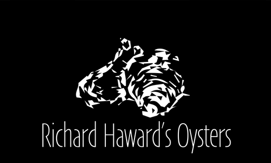 Richard Haward's Oysters Logo. Black and white oyster logo. Buy oysters. Mail order oysters.
