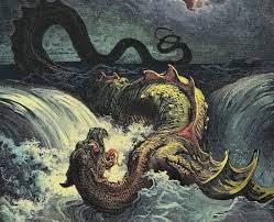 Ancient sea monster painting