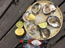 Load image into Gallery viewer, Native oysters and rock oysters opened, served with lemon and tobasco sauce.