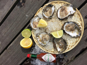 Native oysters and rock oysters opened, served with lemon and tobasco sauce.