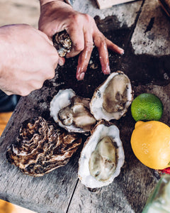 Hand opening fresh rock oysters from Richard Haward's Oysters