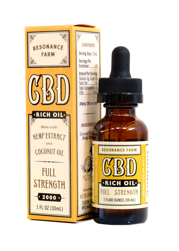 Resonance Farm - CBD RICH OIL – FULL STRENGTH FORMULA – 2000mg - 1 OZ.