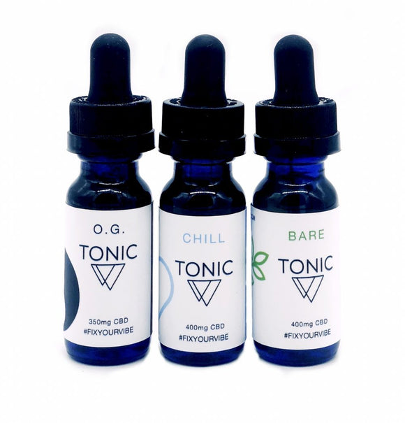 Tonic Vibes - Sample pack - Chill: 400mg, OG: 350mg, Bare: 400mg