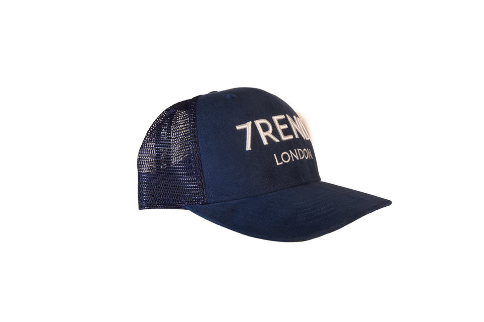 Navy Suede Trucker With White 7RENDI - 7rendi