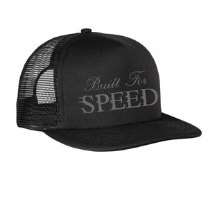 """BUILT FOR SPEED"" - Gray on Black- Trucker Hat"