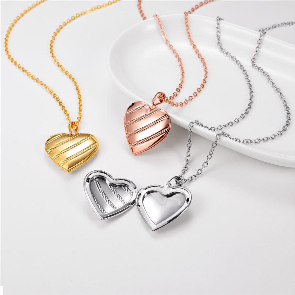 Striped Heart Locket Necklace