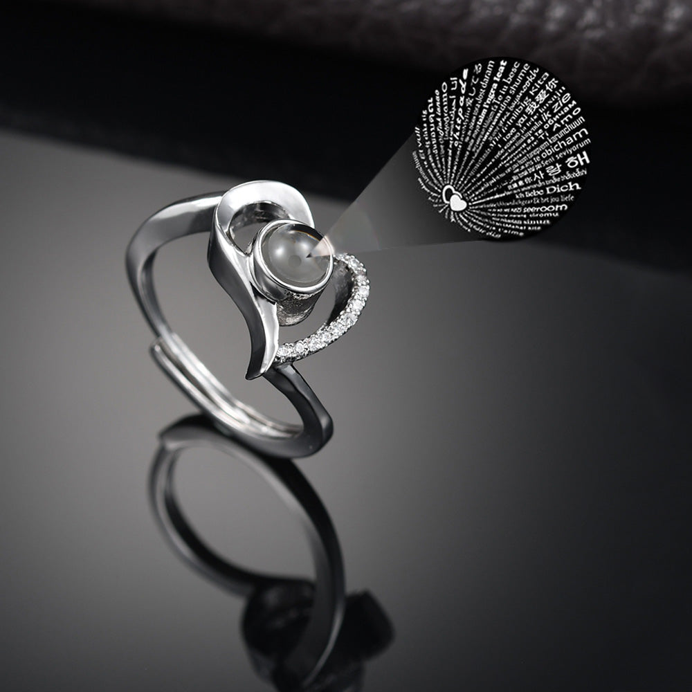 Curved Heart Ring - 100 Ways to Say I Love You
