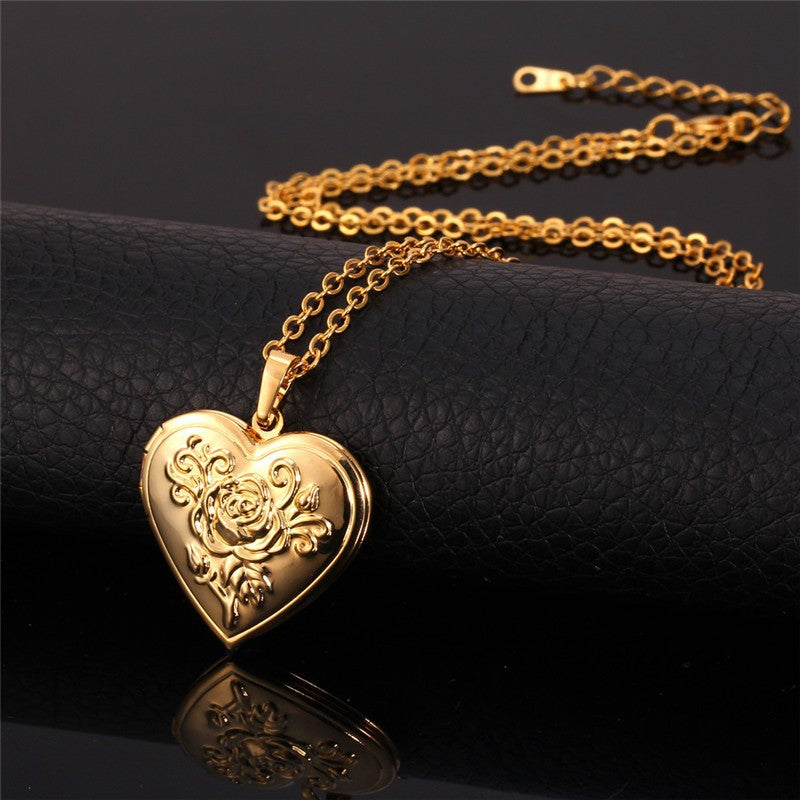 Rose Heart Locket Necklace
