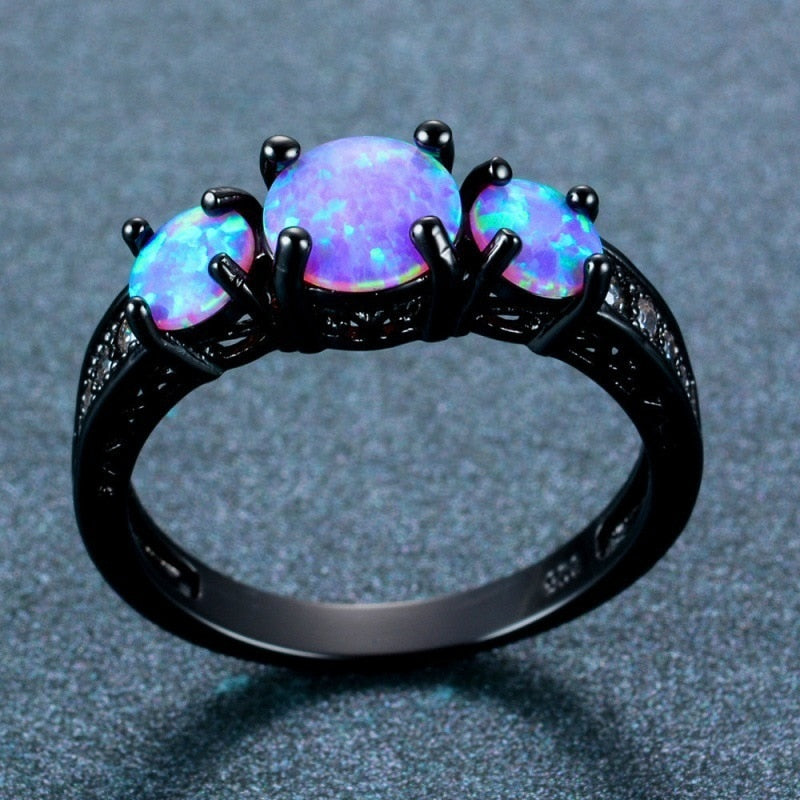 Three Stone Fire Opal Ring